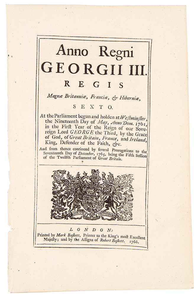 [The Stamp Act] ... An Act for granting and applying certain Stamp Duties, and other Suties, in the British Colonies and Plantations in America. AMERICAN REVOLUTION, Act of Parliament - Great Britain.