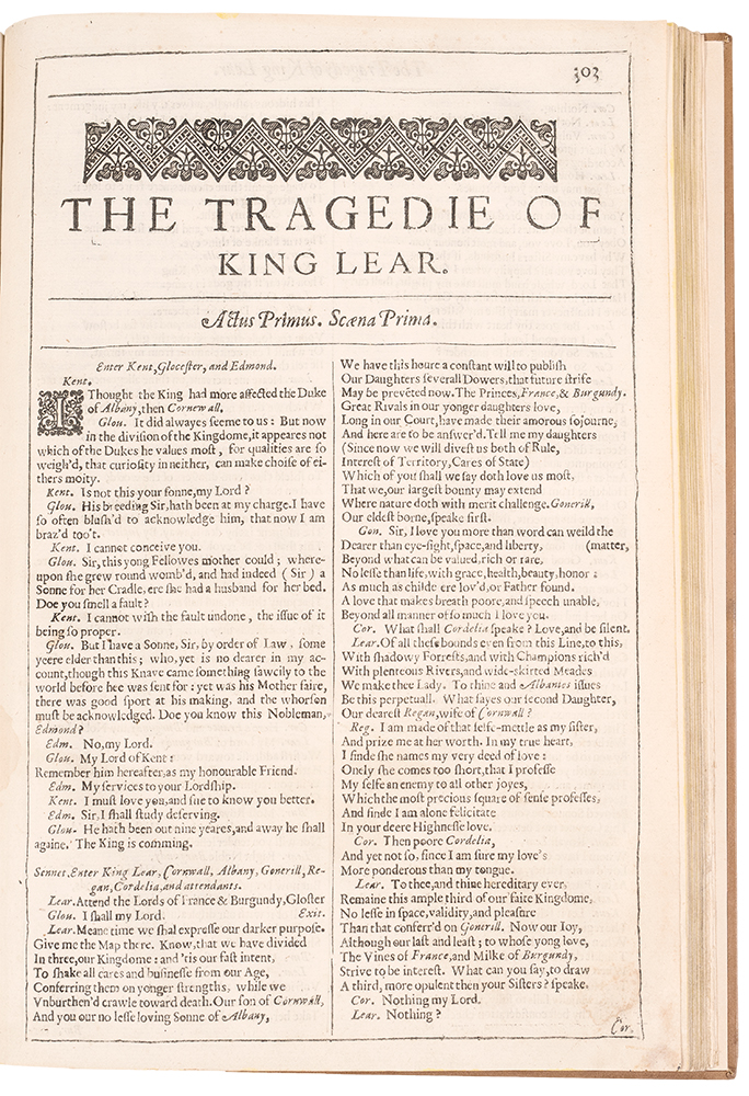 The Tragedie of King Lear ... [Bound with:] The Tragedy of Othello ... [and with:] The Tragedy of Anthony and Cleopatra. William SHAKESPEARE.