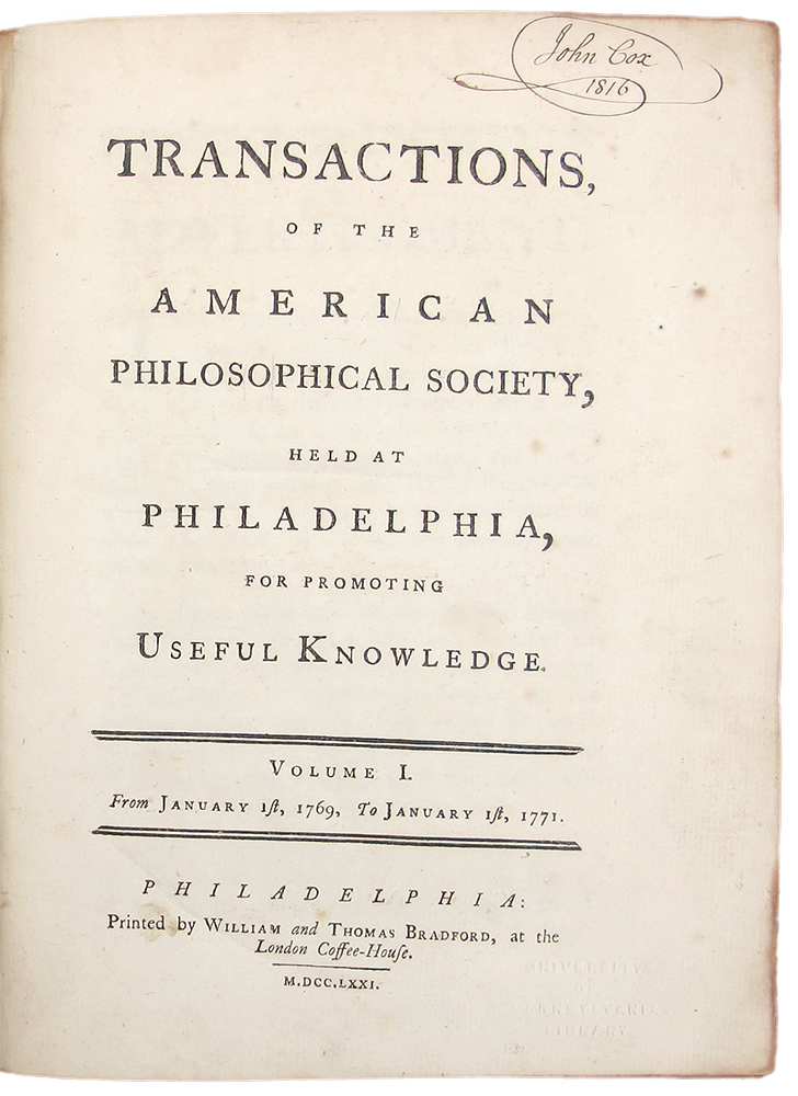 Transactions, of the American Philosophical Society, Held at Philadelphia, for Promoting Useful Knowledge. AMERICAN PHILOSOPHICAL SOCIETY.
