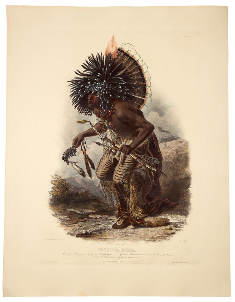 Péhriska-Rúhpa. Moennitarri Warrior in the Costume of the Dog Danse. Karl BODMER.