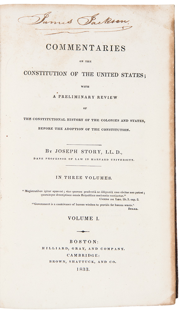 Commentaries on the Constitution of the United States. Joseph STORY.