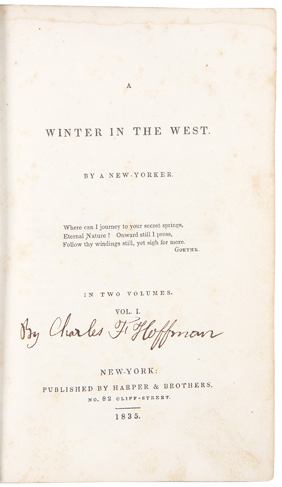 A Winter in the West. Charles F. HOFFMAN.