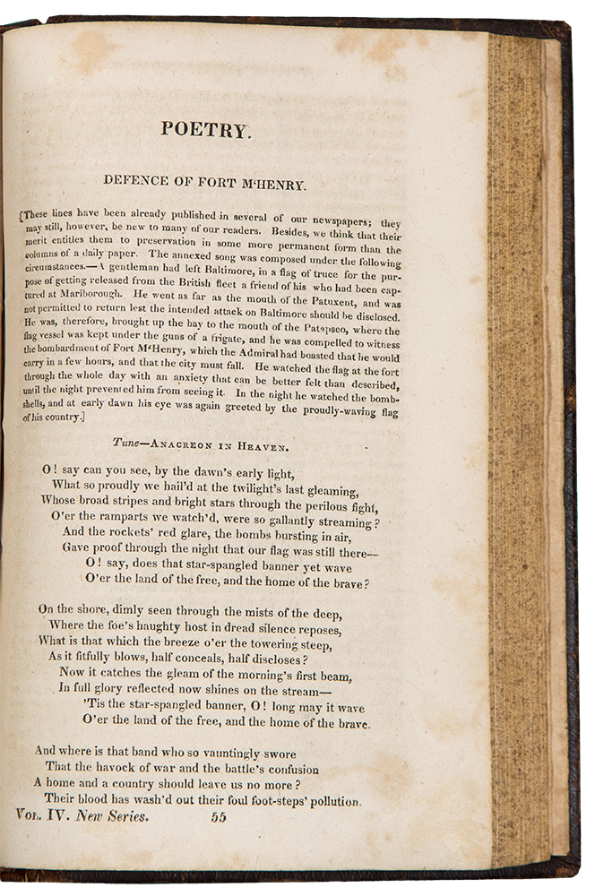 Defence of Fort M'Henry [i.e. the Star Spangled Banner, on p. 433-434 in The Analectic Magazine ... Volume IV]. Francis Scott KEY.