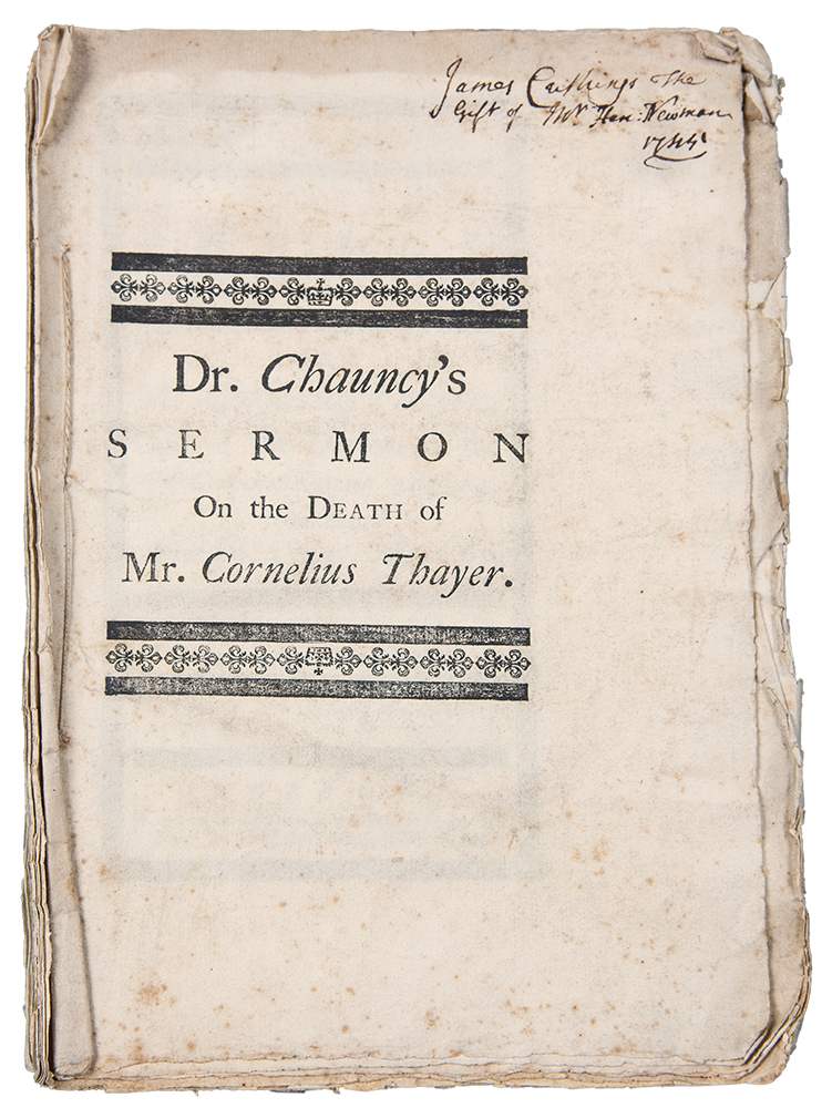 Cornelius's character. A sermon preach'd the Lord's-Day after the funeral of Mr. Cornelius Thayer, one of the deacons of the First Church of Christ in Boston; who died, April 10. 1745. Charles CHAUNCY.