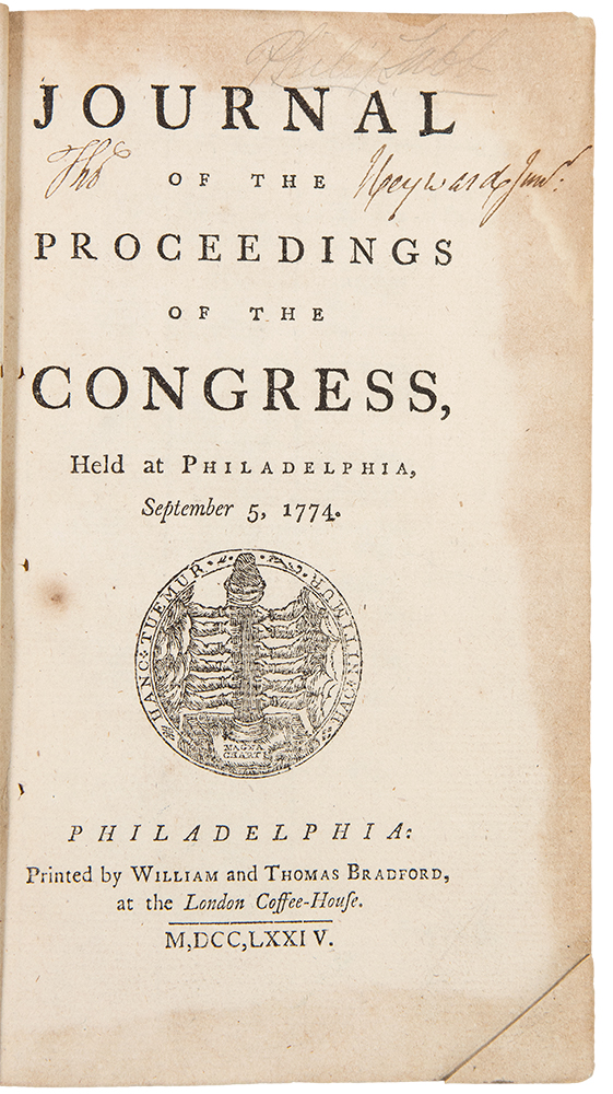 Journal of the Proceedings of the Congress, held at Philadelphia, September 5, 1774 ... [Bound with:] Journal of the Proceedings of the Congress, held at Philadelphia, May 10, 1775. CONTINENTAL CONGRESS.
