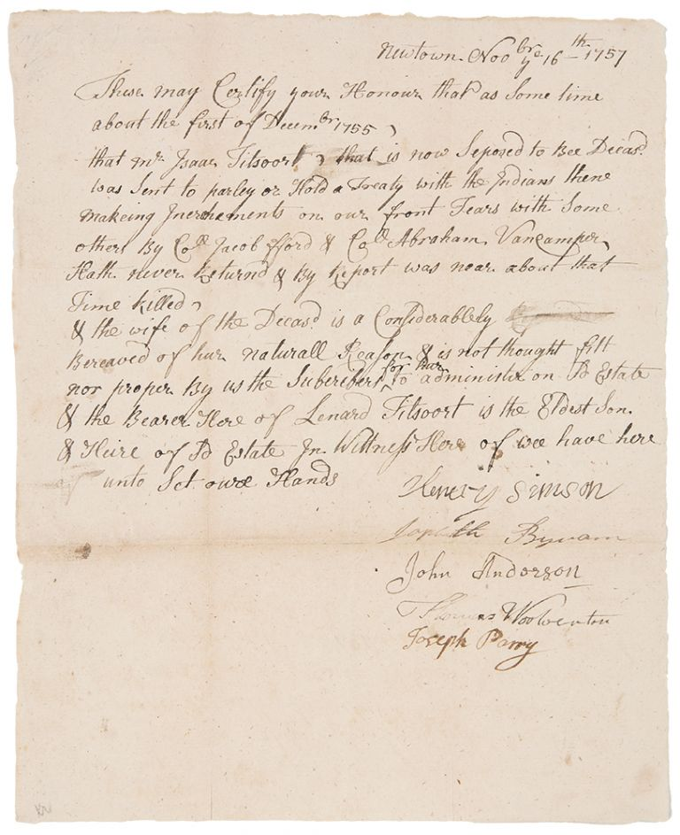 Manuscript document signed by the selectmen of Newtown, NJ, attesting that Isaac Titsoort [i.e. Tietsoort], was sent in December 1755 to negotiate with Indians on the Pennsylvania frontier, but was killed. FRENCH, INDIAN WAR.