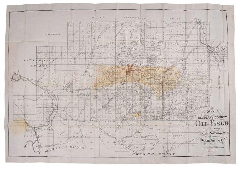 Map of the Allegany County Oil Field. J. A. SEYMOUR.