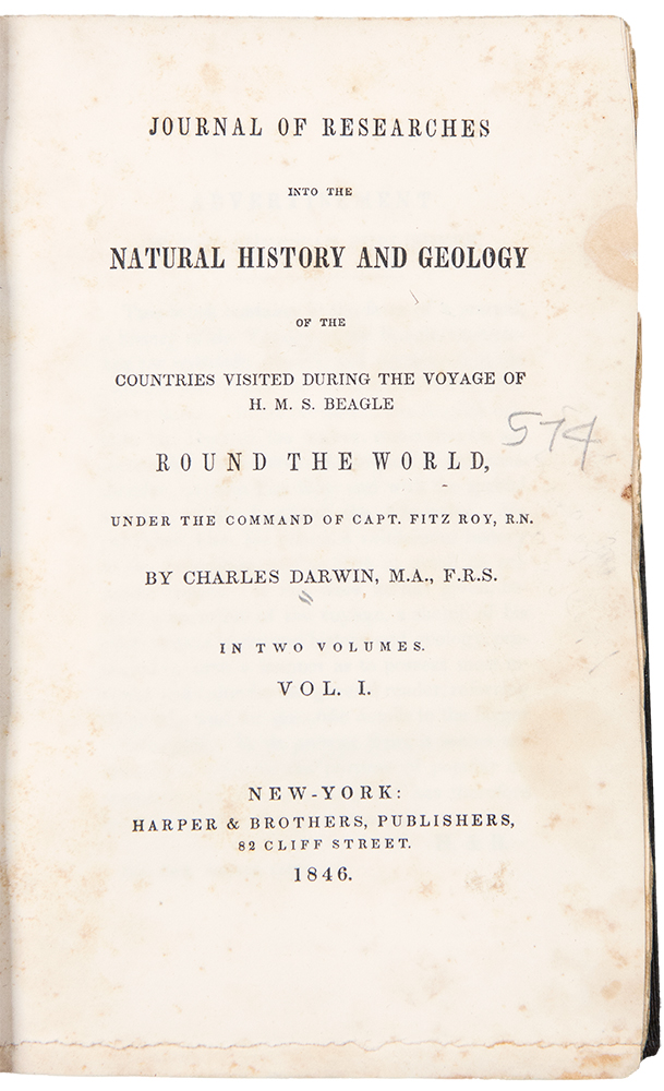 Journal of Researches into the Natural History and Geology of the Countries visited during the Voyage of the H.M.S. Beagle Round the World. Charles DARWIN.
