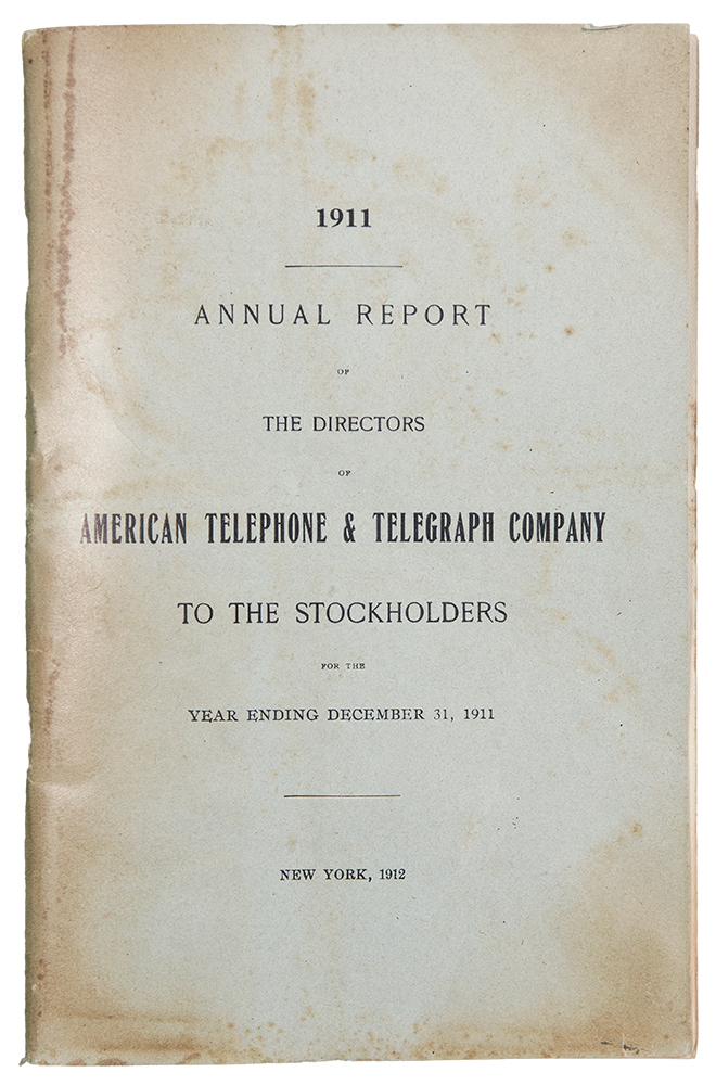 Annual Report of the Directors of American Telephone & Telegraph Company to the Stockholders for the Year Ending December 31, 1911. AMERICAN TELEPHONE, TELEGRAPH COMPANY.