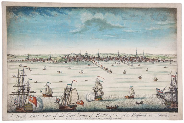 A South-East View of the Town of Boston in North America. John CARWITHAM, William, engraver after Burgis, fl.