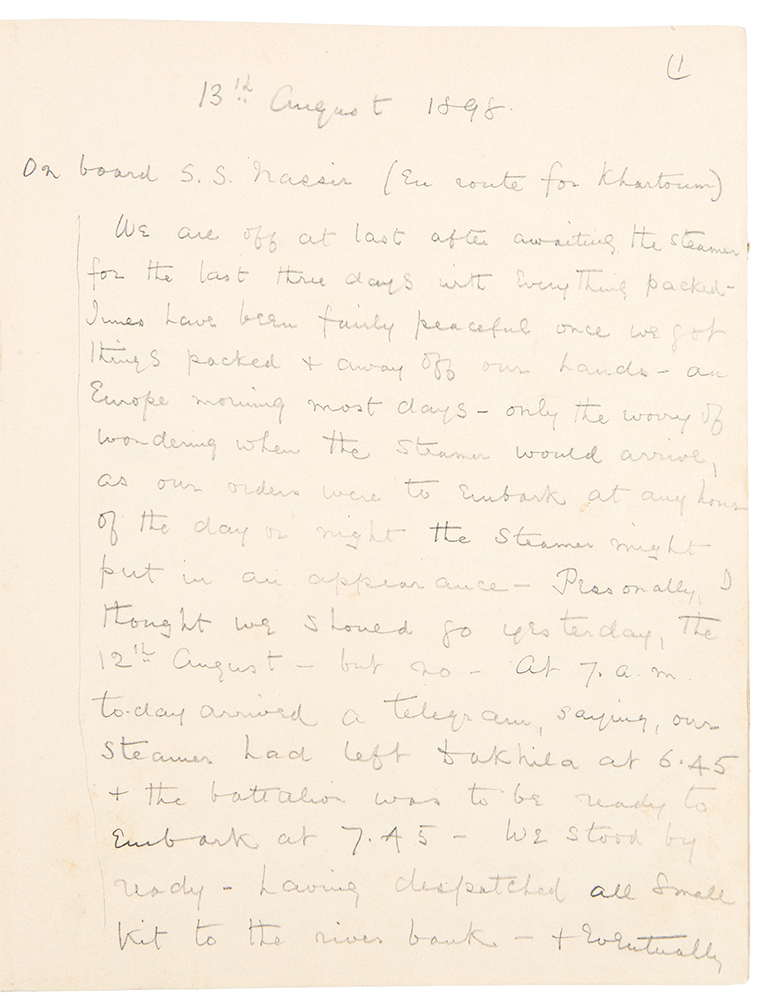 [Manuscript diary of a 10th Regiment British soldier in Sudan at the Battle of Omdurman]. Captain Alfred Edward HUBBARD.
