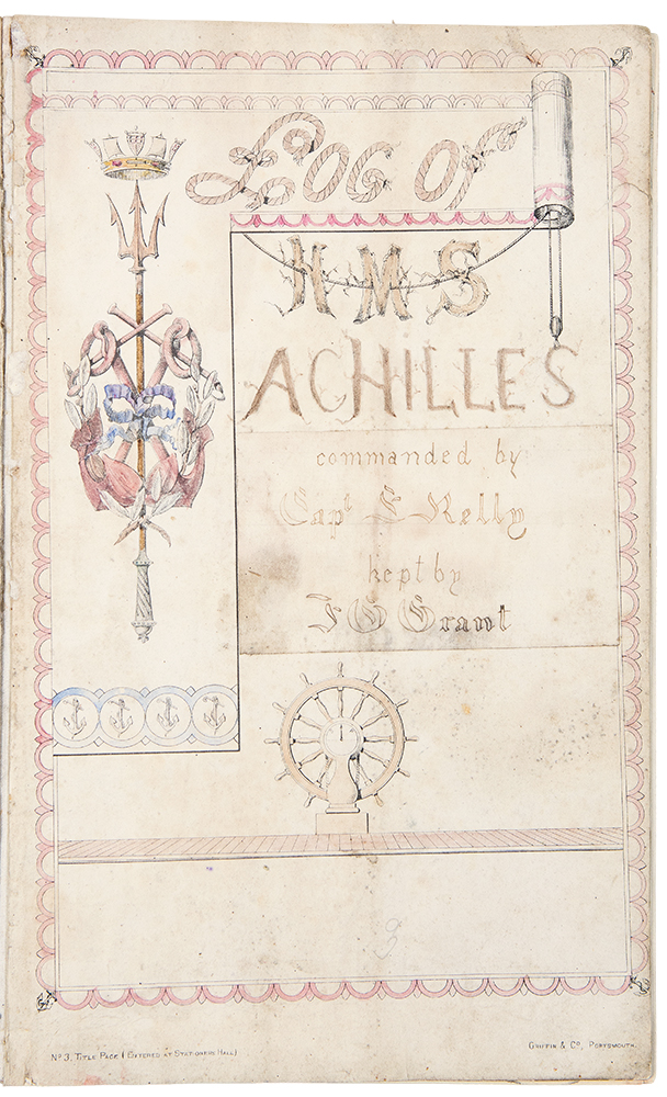 Log of HMS Achilles Commanded by Captain E. Kelly / Log of HMS Constance Comd. by Capt. F[rederic] Proby Doughty. SHIP'S LOGS, - Grant, dmund, ercy, enwick, eorge.