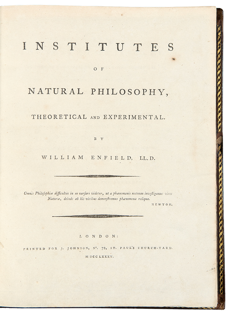 Institutes of Natural Philosophy, Theoretical and Experimental. William ENFIELD.