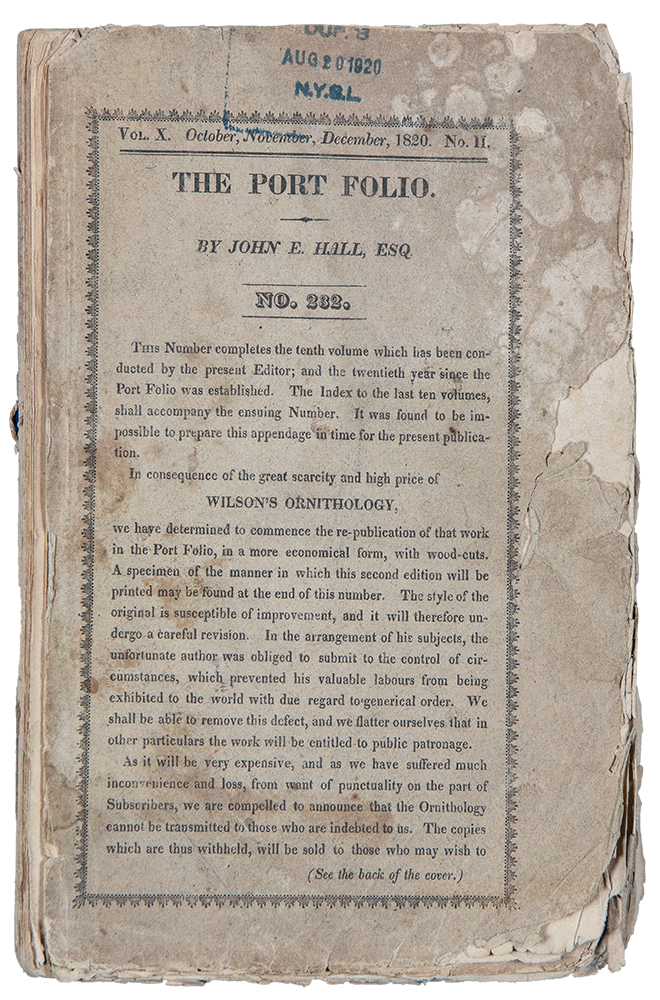 The Port Folio; Original and Selected ... Vol. X. July to December, 1820. John E HALL, Esq.