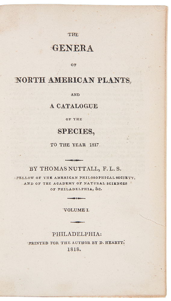The Genera of North American Plants, and a Catalogue of the Species to the Year 1817. Thomas NUTTALL.