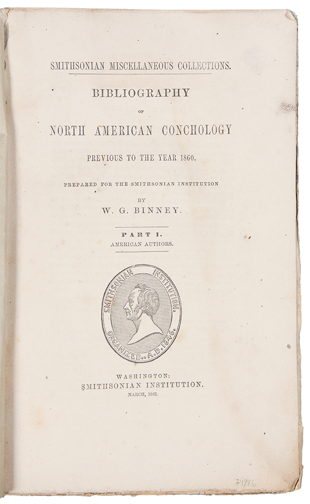 Bibliography of North American Conchology Previous to the Year 1860 ... Part I. William Greene BINNEY.