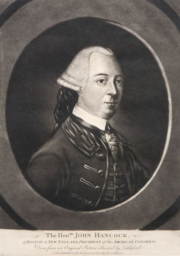 The Honble. John Hancock. of Boston in New-England; president of the American Congress. Done from an original picture painted by Littleford. John HANCOCK, pseudonym R. PURCELL, attributed to C. CORBUTT.