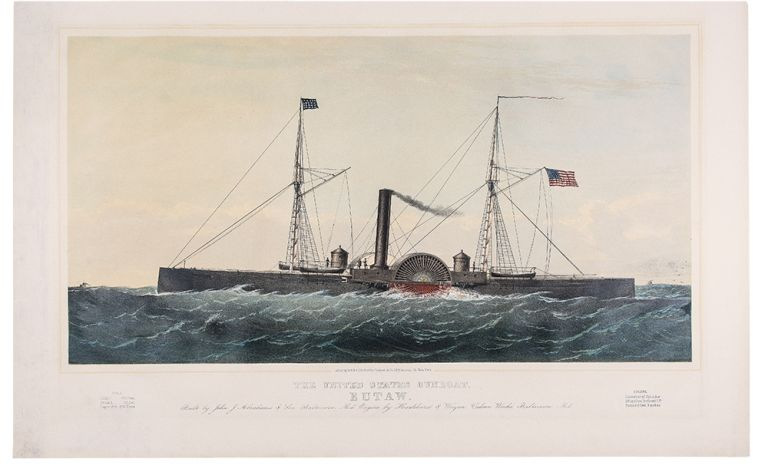 """""""The United States Gunboat """"Eutaw"""". Built by John J. Abrahams & Son Baltimore, Md. Engine by Haxlehurst & Weigan Vulcan Works, Baltimore, Md. Hull Length...240 feet. Breadth...35 feet. Depth 12ft. 974 Tons. Engine. Diameter of Cylinder 59 inches. Inclined L.P. Stroke 8 feet 9 inches."""" Charles PARSONS, 1821 - 1910."""