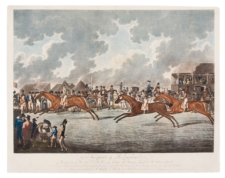 Sacripant by Rockingham. The property of The Honble. J W Coventry, beating Mr Whaley's Tuneful & Mr. Ladbroke's Chuckle, over Epsom Odds at starting 10 to 1 against Sacripant after the Start, 2 to 1 on him, Sacripant was rode by Mr Samuel Barnard, Tuneful by Mr W Cliff & Chuckle by Mr Dennis Fitzpatrick. HARDING, publishers.