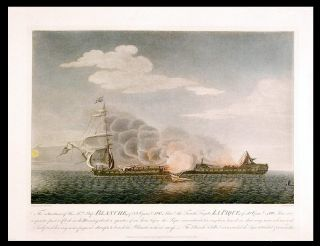 The situation of His Mtys. Ship Blanche, of 32 Guns & 180 Men, & the French Frigate La Pique, of...