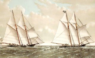 "The Great Ocean Yacht Race. Between the Henrietta, Fleetwing & Vesta. The ""good bye"" to the yacht club steamer ""River Queen"", 4 miles east of Sandy Hook. Light Ship. Decr. 11th. 1866"