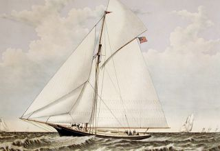"A ""crack"" sloop in a race to windward. Yacht Gracie of New York"