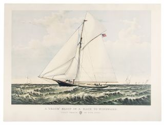 "A ""crack"" sloop in a race to windward. Yacht Gracie of New York. CURRIER, IVES - After Charles R...."