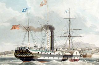 Ships of the General Steam Navigation Company. The Leith, of 1000 Tons, arriving at Granton Pier, Edinburgh. - The Monarch, of 875 Tons, leaving for London
