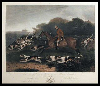 This Print of T. Goosey, Huntsman, to the Belvoir Hounds, is dedicated to the Lord Forrester,...
