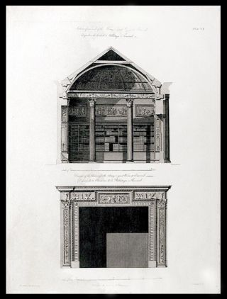 Section of one end of the Library or great Room, at Kenwood... Design of the Chimney for the...