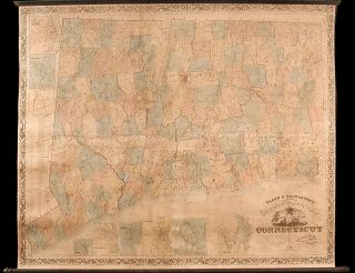 Clark & Tackaburys New Topographical Map of the State of Connecticut. Compiled from New and...