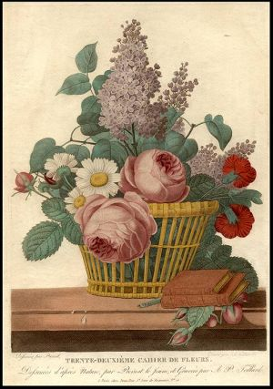 Still-life of Flowers in a Basket, on a Shelf with two books] Trente-deuxième Cahier de Fleurs....