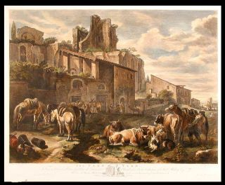 The Farm Yard. From the Original Picture, by Peter de Laër, called Bamboccio; In the Collection...