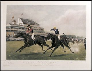 """The Derby 1896. won by H.R.H. The Prince of Wales' Persimmon. J. Watts. up. Second. Mr L. de..."