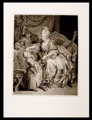 'Une petite fille reçevant ses étrennes' [A little girl receives her gifts]. After Johann...