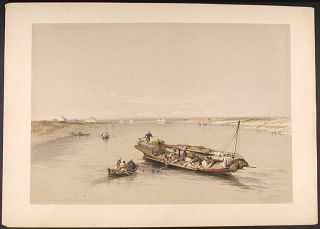View of the Nile Looking Towards the Pyramids of Dashour and Saccara. After David ROBERTS