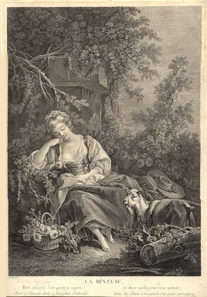 La Rêveuse. [The Dreamer]. after François BOUCHER, Jacques Frimin Beauvarlet