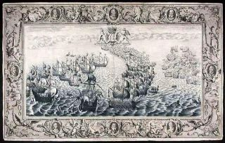 Plate illustrating the defeat of the Spanish Armada by the English Fleet under the command of...