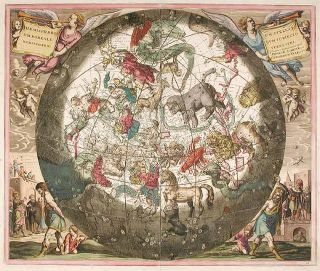 The Northern Celestial Hemisphere, with the Terrestrial Hemisphere beneath] Hæmisphærium...