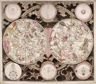 Double Hemisphere Celestial Chart with Classical Constellations] Planisphærium Coeleste. Peter...