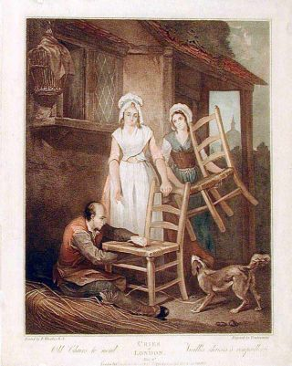 Cries of London, Plate 10, Old Chairs to Mend. Francis WHEATLEY, Giovanni VENDRAMINI