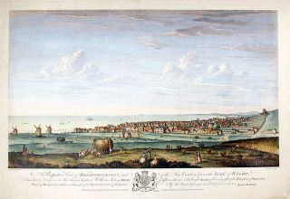 A Perspective View of Brighthelmston, and of the Sea Coast as far as the Isle of Wight, Inscribed...