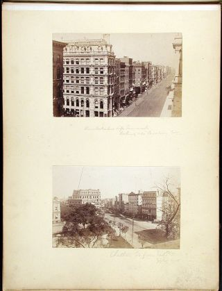 A photograph album of mounted topographical albumen photographs (Washington & New York)