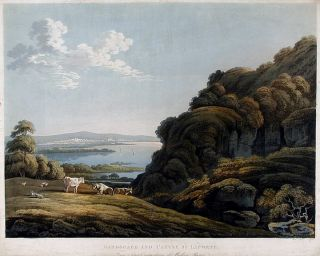 Landscape and Castle by Laporte. Frederick Christian LEWIS, after John LAPORTE