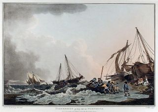 Fishermen going out at Worthing. J. after Philippe Jacques LOUTHERBOURG HILL