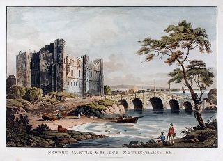 Newark Castle & Bridge Nottinghamshire. J. R. HAMBLE