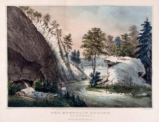 The Mountain Spring. Near Cozzen's Dock, West Point. CURRIER, IVES - After Francis F. PALMER,...