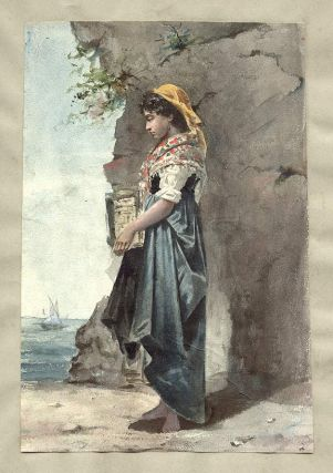 Italian Peasant Woman in Scenic Landscape. ANONYMOUS