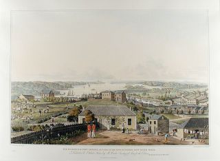 Three panoramic views of Port Jackson, in New South Wales, with the town of Sydney, and the...