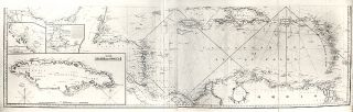 Southern portion of the Gulf of Mexico with inset charts of Jamaica, Mobile Bay, the Harbour of...